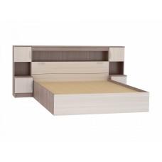 Кровать Бася КР-552 с закроватным модулем 1,6м, цвет: Ясень шимо светлый