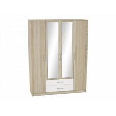 Шкаф 4-х створчатый Сопрано ШК-224 с зеркалами и 2-мя ящиками, цвет: Белый глянец/Дуб сонома