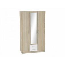 Шкаф 3-х створчатый Сопрано ШК-223 с зеркалом и 2-мя ящиками, цвет: Белый глянец/Дуб сонома
